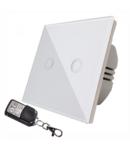 Intrerupator  dublu, comutator  alb  simplu TOUCH - actionare prin atingere plus telecomanda
