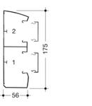 Canal cablu Modul 45 175x56cu prindere rapida aparate, doua compartimente, inclinat