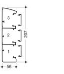 Canal cablu Modul 45 207x56cu prindere rapida aparate, trei compartimente, inclinat