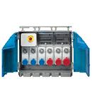 Organizator ENERGYBOX ASSEMBLY ACS WITH TERMINAL BLOCK AND 5 SWITCHED INTERLOCKED PrizaS 3X 16A 2P+E 230V/ 1X16A 3P+E 400V/1X32A 3P+N+E 380-415V MCB IP65