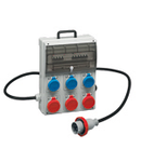 Organizator ENERGYGO PORTABLE ACS BOARD WITH 6 INTERLOCKED PrizaS 6X 16A 2P+E 220V, Stecher / Fisa 32A 3P+N+E, MCB 4P 32A, RCD 30MA: 4P 40A IP66