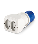 ONE-WAY ADAPTOR IP20 10A 2P+E 250V 2 x SUISSE