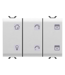 Intrerupator cu revenire PANEL WITH INTERCHANGEABLE SYMBOL - WITH ACTUATOR - KNX - 6+1 CHANNELS - 3 module - WHITE - CProiector HORUS