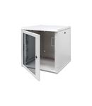 Dulap Rack19''  montaj pe perete - METAL - TRANSPARENT DOOR - 15U - 600X740X600 - RAL 7035 GREY