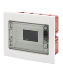 FLUSH-MOUNTING ENCLOSURE WITH SMOKED TRANSPARENT DOOR WITH EXTRACTABLE FRAME - WITH TERMINAL BLOCK N (2X16)+(7X10) E (2X16)+(7X10) - 8 module IP40