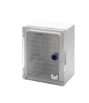 WATERTIGHT BOARD WITH TRANSPARENT DOOR FITTED WITH LOCK - GWPLAST 120 - 200X254X135 - IP55 - GREY RAL 7035