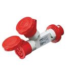 Adaptor industrial 2 OUTPUTS IP67 - PLUG 16A - 2 SOCKET-OUTLETS 3P+N+E 400V 50/60HZ - RED - 6H