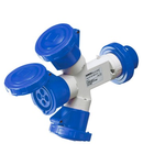 Adaptor industrial 3 OUTPUTS IP67 - PLUG 16A - 2 SOCKET-OUTLETS 2P+E 230V 50/60HZ - BLUE - 9H