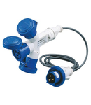 Adaptor industrial 3 OUTPUTS IP67 - 2M FLEXIBLE CABLE - PLUG 16A - 2 SOCKET-OUTLETS 2P+E 230V 50/60HZ - BLUE - 6H