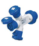 Adaptor industrial IP67 - PLUG 2P+E 32A 230V ac 50/60HZ - 2 SOCKET-OUTLETS 2P+E 16A 230V ac
