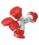 Adaptor industrial 3 OUTPUTS IP67 - PLUG 32A - 2 SOCKET-OUTLETS 3P+E 400V 50/60HZ - RED - 6H