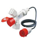 Adaptor industrial IP44 - 2 BRANCHED OUTLETS - WIRED WITH CABLE AND PLUG - PLUG 3P+N+E 16A - 2 SOCKET-OUTLETS (P17/11)+1 (P30-P17)+1 3P+N+E 16A 400V ac