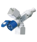 Adaptor industrial IP44 - 2 BRANCHED OUTLETS - FITTED FOR CABLE AND PLUG - 2+2 SYSTEM module + 1 SOCKET-OUTLET 2P+E 16A 230V ac