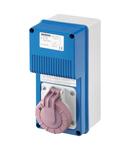 Priza industriala cu interblocaj verticala - WITH BOTTOM - SAFETY TRANSFORMER - 2P 16A 230/24V 160VA - IP67