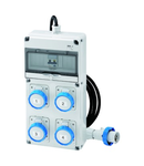 Q-DIN 10 ACS - MOBILE-PORTABLE - WITH CABLE AND PLUG - 3 2P+E 16A IEC309 + 1 3P+N+E 16A IEC309 - IP65