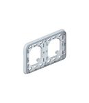Flush mounting Rama suport Plexo IP55 - 2 module horizontal - gri