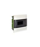 Practibox S Montaj incastrat cabinet pentru zidarie cu Bara de nul - Usa fumurie - 1 rand cu 8 module per rand