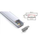 Profil ingropat cu dispersor pentru banda LED rigida YF-102 / aluminiu