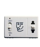 Priza de ras  HOTEL SYSTEM - EUROPEAN/AMERICAN STANDARD - INDICATOR LIGHT FOR THE SELECTED VOLTAGE -230V 50/60Hz - 3 MODULES - SYSTEM WHITE
