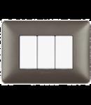 Placa ornament 3 module Metalizat Fier  Bticino Matix