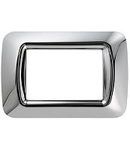 Placa ornament TOP SYSTEM  - IN TECHNOPOLYMER GLOSS FINISH - 3 module- SOFT CHROME - SYSTEM