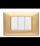 Placa ornament 4 module Vimar(Plana) Tehno-polimer matt gold