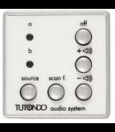 Unitate de control audio pentru 2 surse de sunet stereo / mono, crom metal (argintiu), TUTONDO