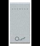 Tasta cu 1 functiune, pentru intrerupator basculant, cu  difuzor si pictograma luminoasa pentru scari, living light, 1 modul, tech, BTICINO