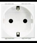 Priza standard german, cu borne automate, 2 P+N, 16A,  living light, 2 module,  alb, BTICINO