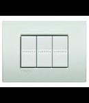 Placa ornament 3 module, alb perlat, living light, BTICINO