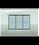 Placa ornament 3 module, argintiu deschis, living light, BTICINO