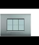 Placa ornament 3 module, nichel mat, living light, BTICINO