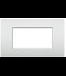 Placa ornament ,4 module, alb perlat, living light, BTICINO