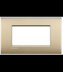 Placa ornament ,4 module, auriu mat, living light, BTICINO