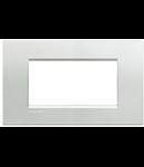 Placa ornament ,4 module, argintiu, living light, BTICINO