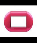 Placa ornament ,3 module, rosu aprins, living light, BTICINO