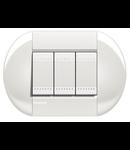 Placa ornament ,3 module, alba, living light, BTICINO