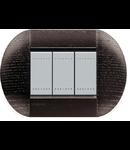 Placa ornament ,3 module, stejar inchis, living light, BTICINO