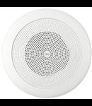 Difuzor rotund acustic pentru montaj incastrat, in tavane false, 1-cale cu 80 ohmi ?i 100V transf. 46 - 24- 12W, alb, TUTONDO