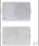 Difuzor de perete de forma rectangulara, cu suport de fixare din metal,1-cale, 100V transf., 80 ohm, 24-12-6W alb, TUTONDO