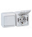 Intrerupator simplu + Priza Schuko 2P+T, 16 A - 250 VA cu protectie pentru copii, IP44, gri