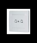 Adaptor conector 2 x RJ 45, alb