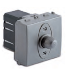 Dimmer pentru sarcina rezistiva, 2 module, cu buton comutator, compatibile cu filtru RFI, 100-500W/230V~ AC, argintiu