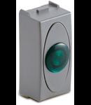 Priza cu lampa lumina verde de usa, 1modul, 220V, argintie