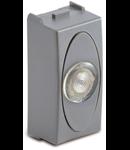 Priza cu lampa lumina alba de usa, 1modul, 220V, argintie