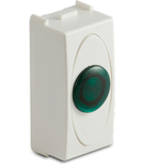 Priza cu lampa lumina verde de usa, 1modul, 220V, alba