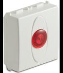 Priza cu lampa lumina rosie de usa, 2 module, 220V, alba