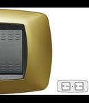 Placa ornament technopolimer, 2+2  module, galben perlat