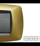 Placa ornament technopolimer, 2+2+2 module, galben perlat