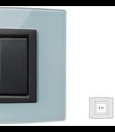 Placa Vitra sticla albastru deschis, 2 module, mod comanda gri